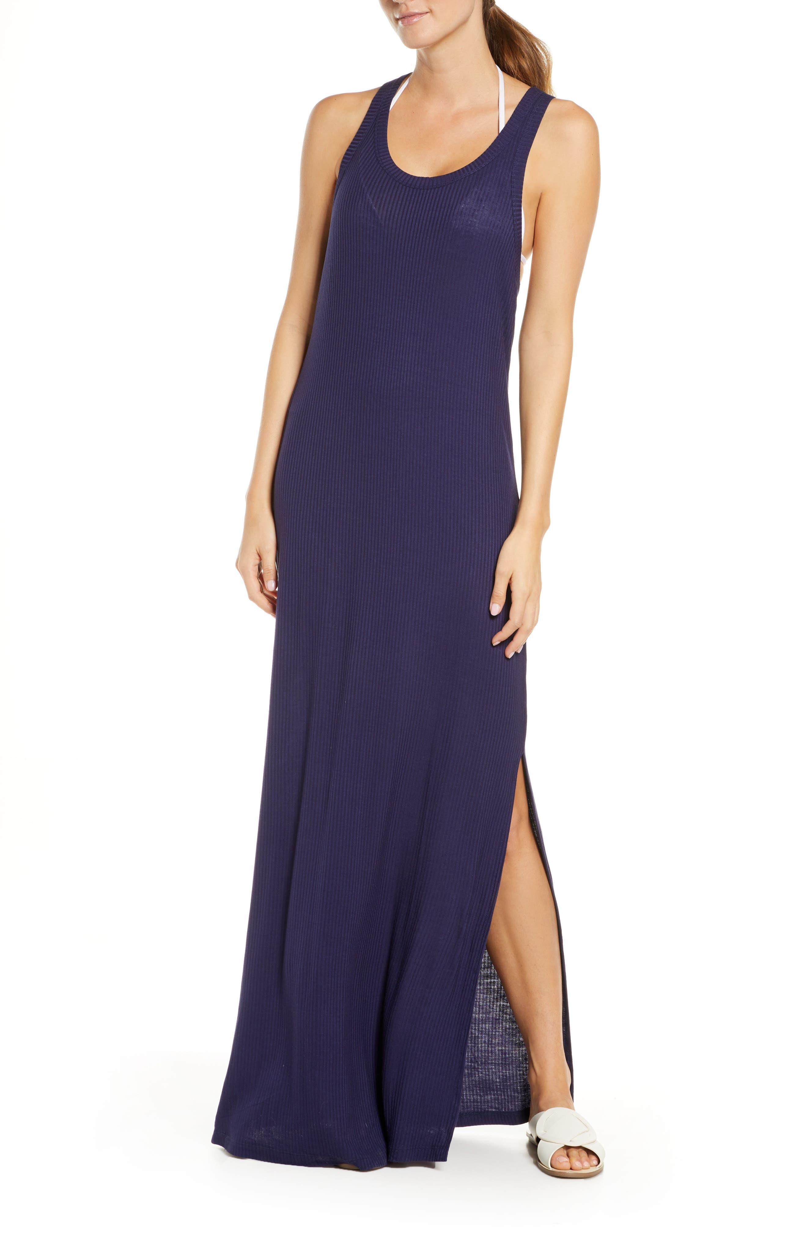 Chelsea28 Sleeveless Ribbed Maxi Cover-Up Dress