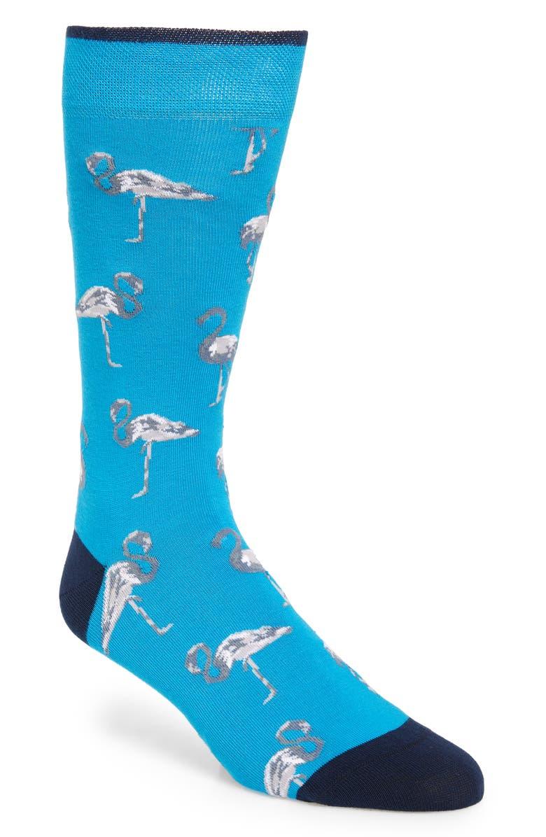 TED BAKER LONDON Allover Bird Socks, Main, color, TEAL