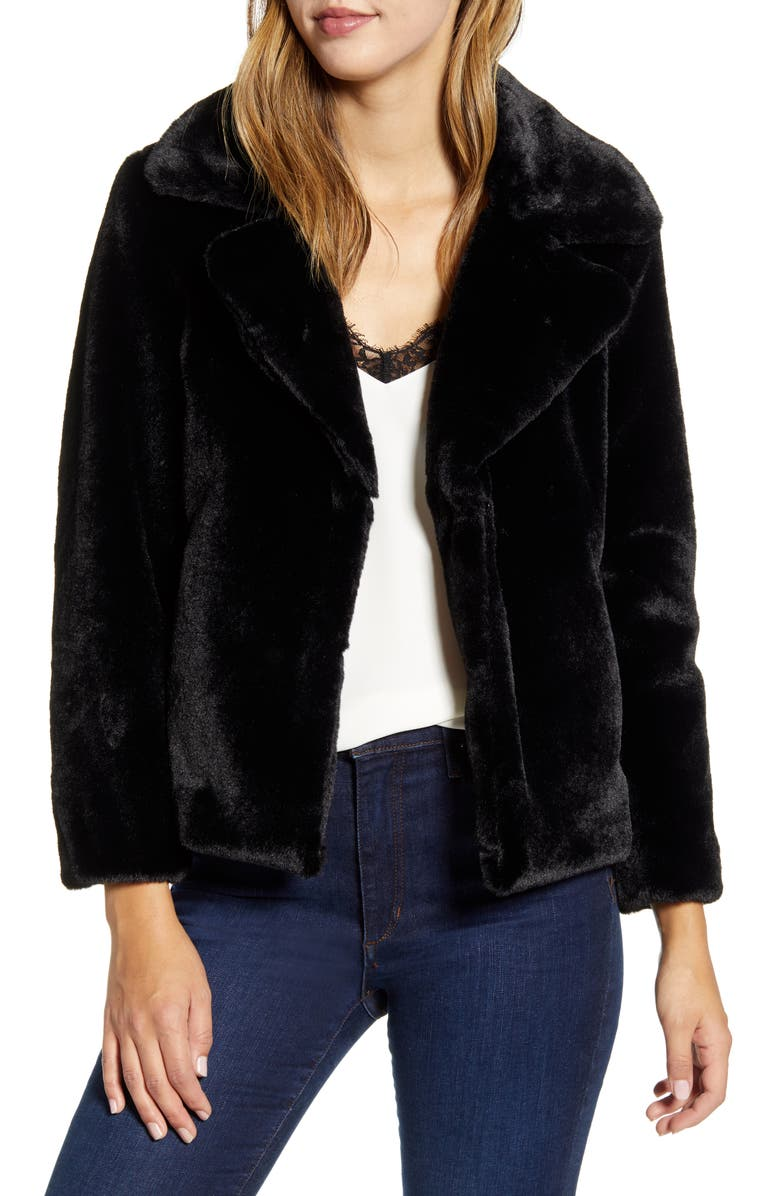 1.STATE Faux Mink Wide Collar Jacket, Main, color, RICH BLACK