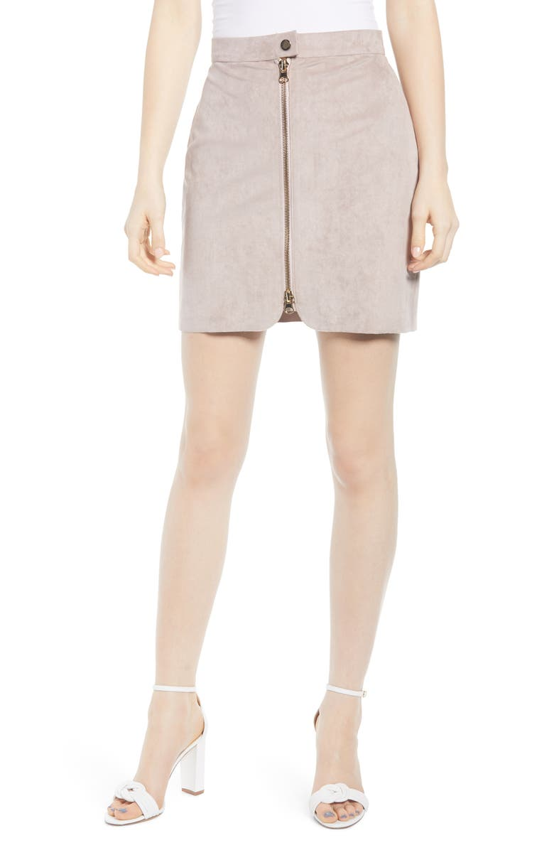 BISHOP + YOUNG Exposed Zip Miniskirt, Main, color, SIERRA
