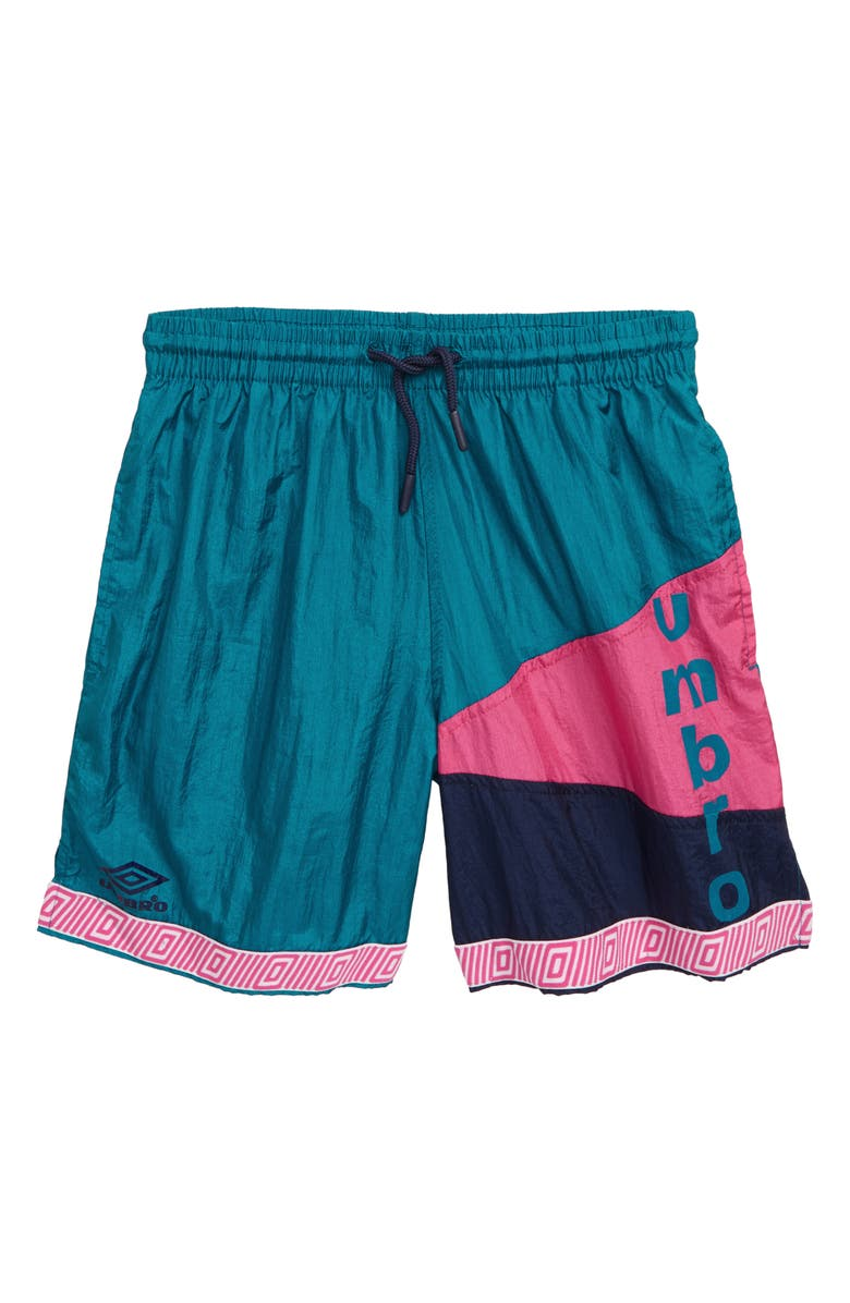 UMBRO Retro Diamond Wind Shorts, Main, color, TEAL/ NAVY