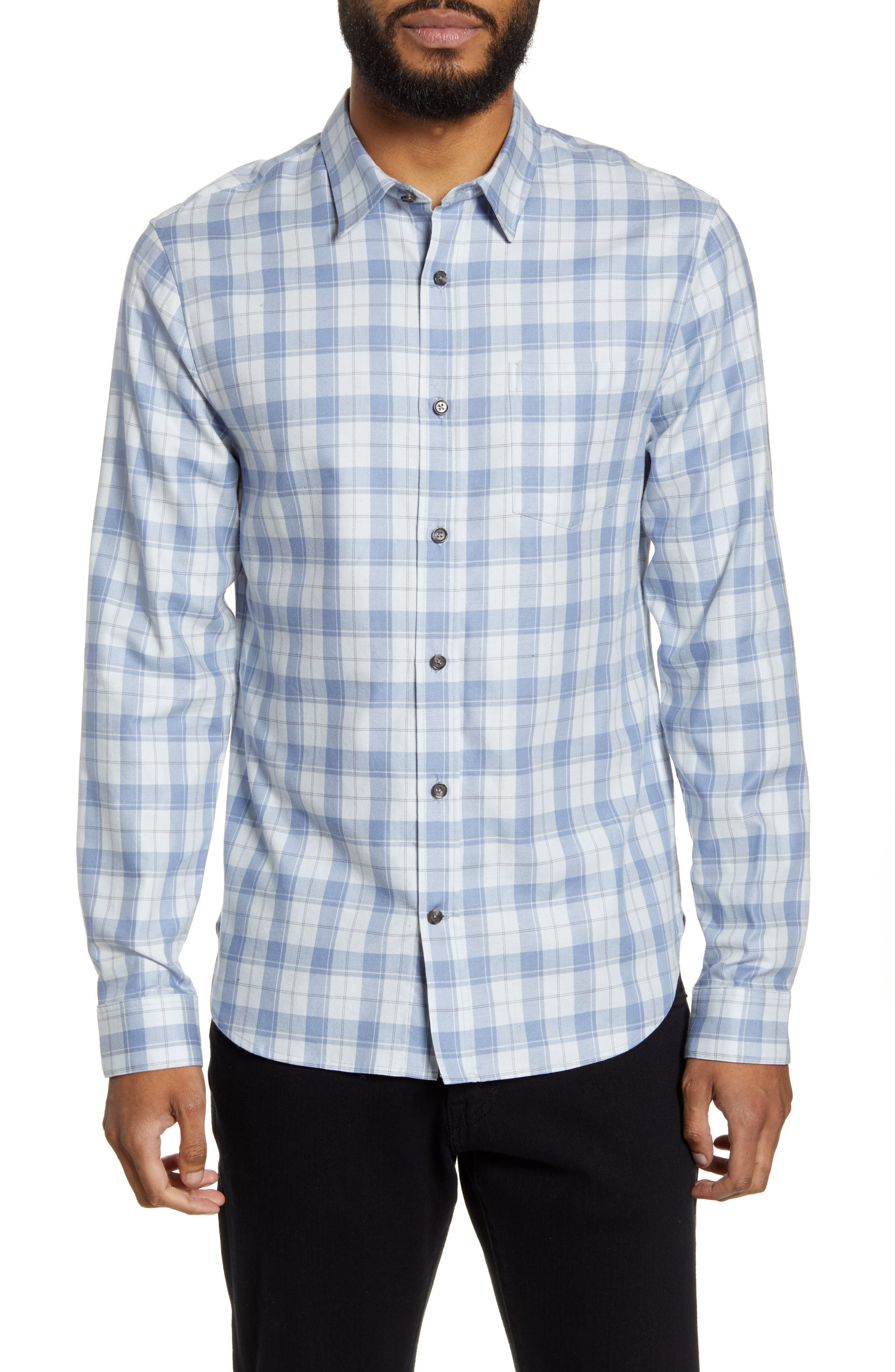 Image of Vince Slim Fit Plaid Flannel Button-Up Shirt