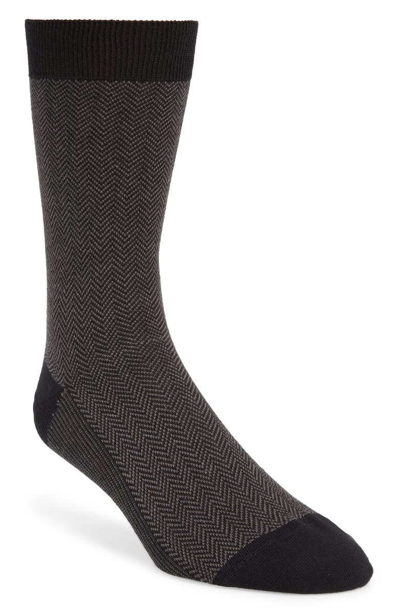 1901 Chevron Stripe Socks, Main, color, BLACK/ GREY