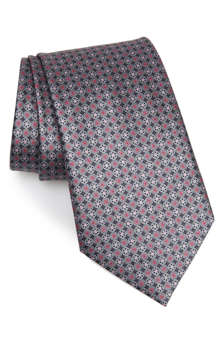 ERMENEGILDO ZEGNA Medallion Silk Tie, Main, color, GREY