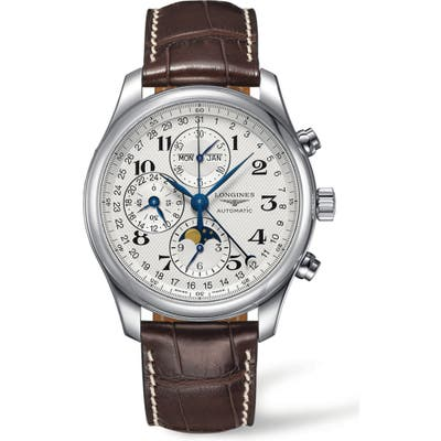 Longines Master Automatic Chronograph Alligator Leather Strap Watch, 42Mm