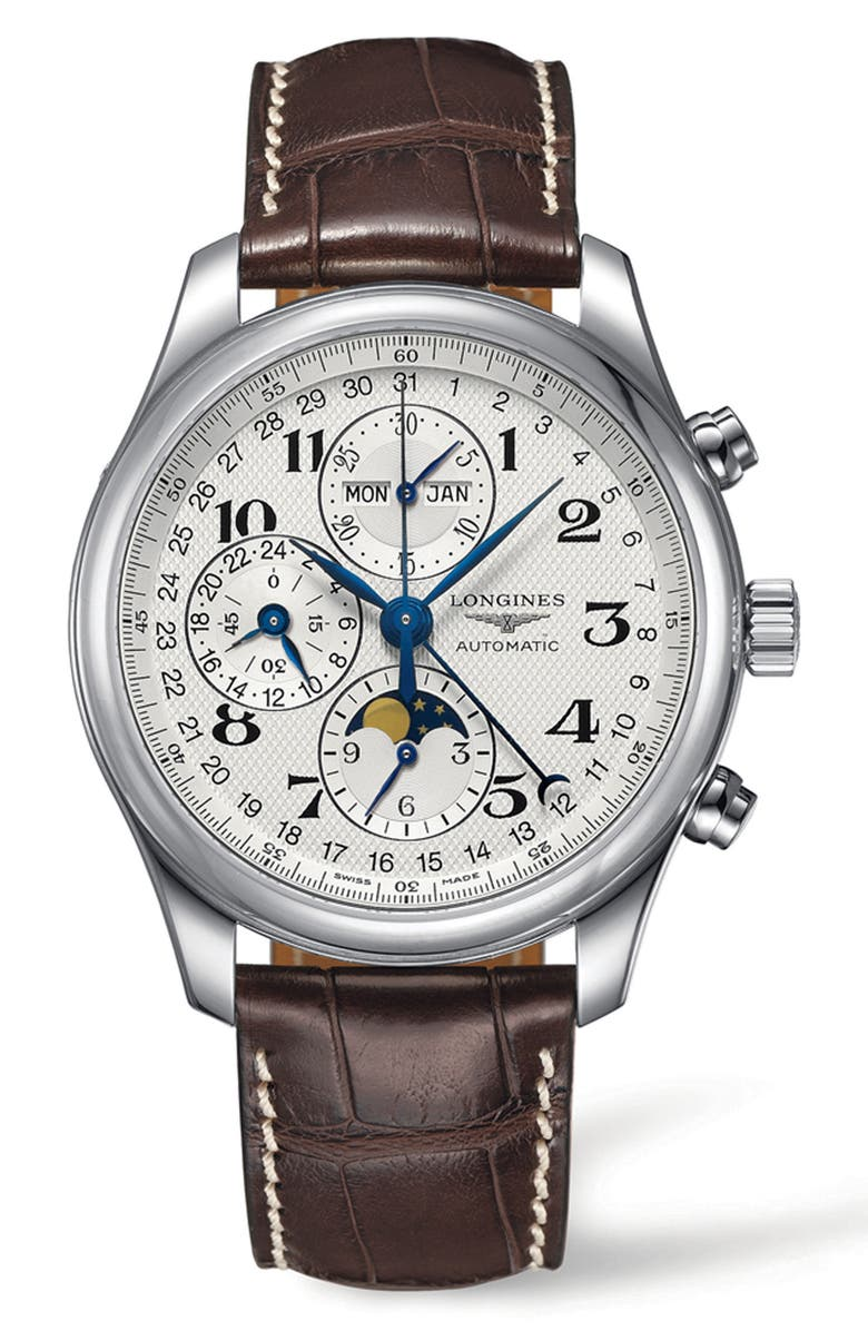 LONGINES Master Automatic Chronograph Alligator Leather Strap Watch, 42mm, Main, color, BROWN/ SILVER