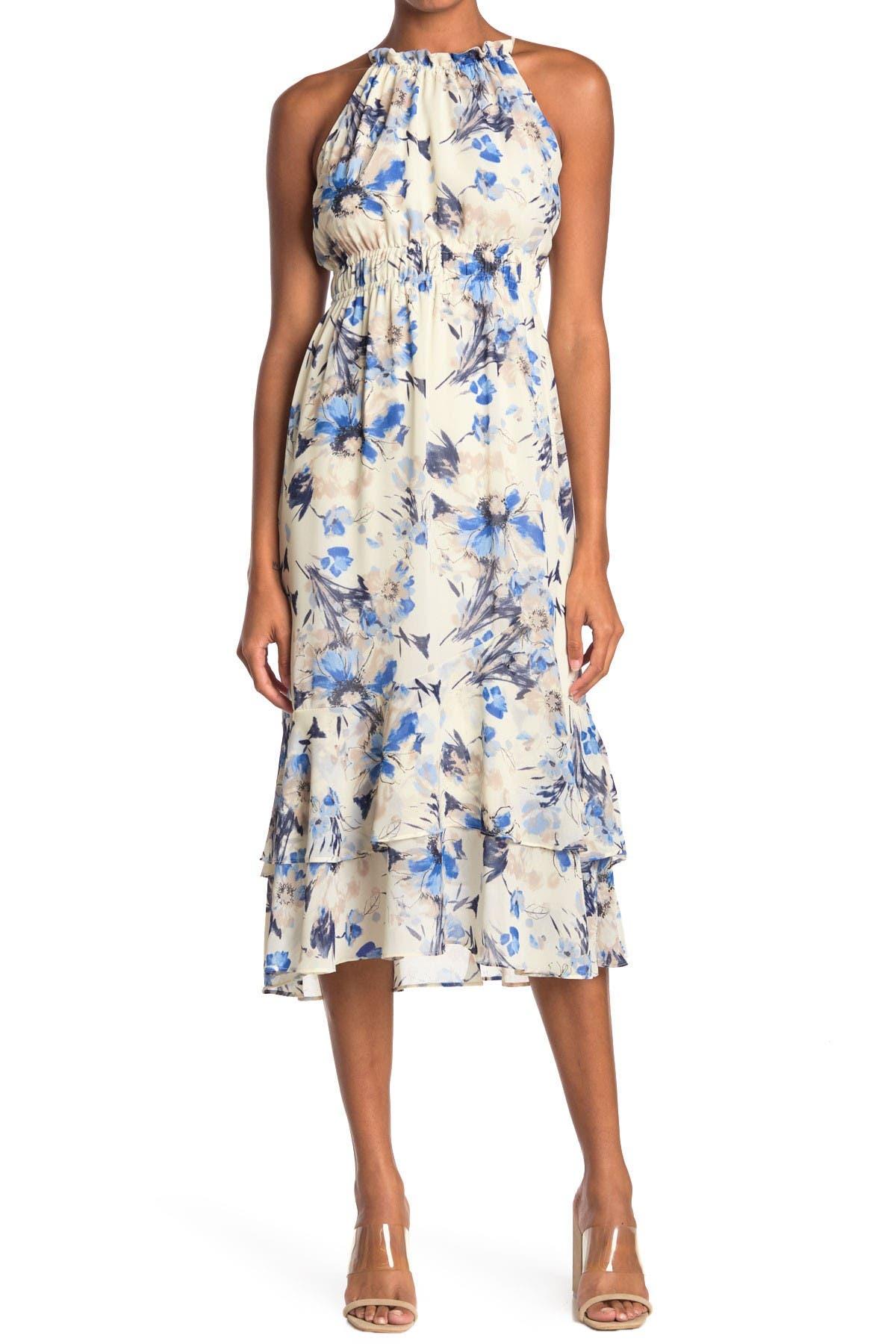 Image of Lush Smocked Waist Floral Print Midi Dress