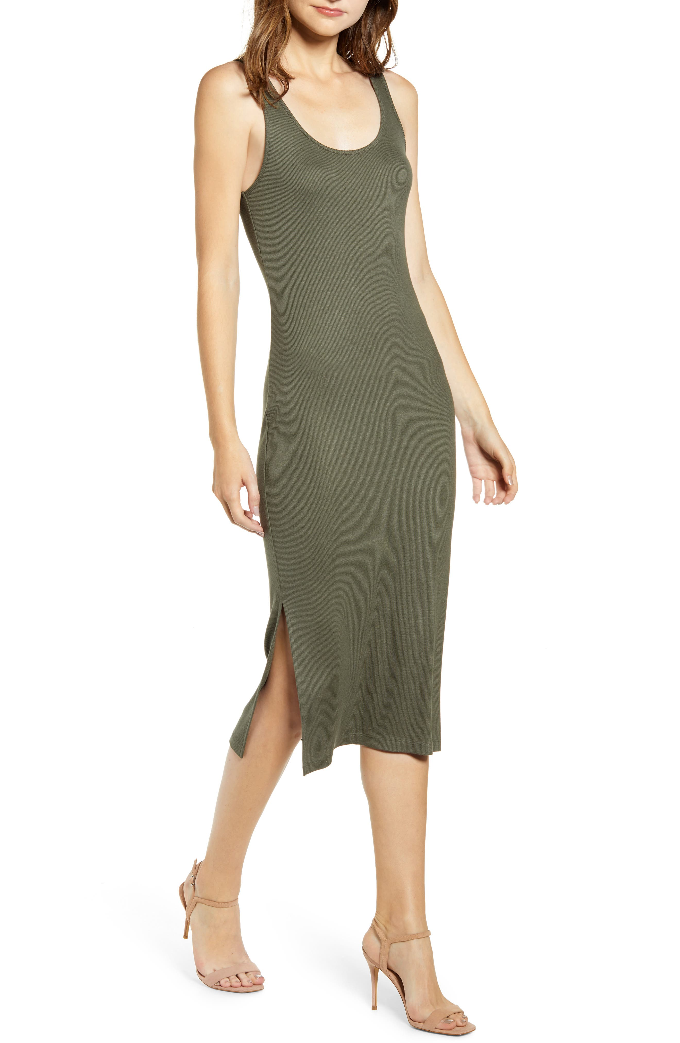 Chelsea28 Side Slit Midi Tank Dress, Green