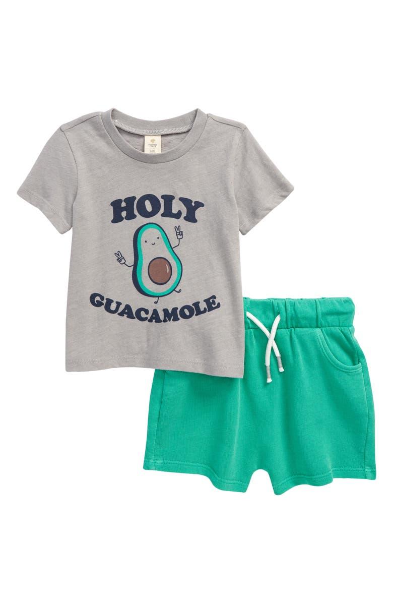 TUCKER + TATE Graphic Tee & Shorts Set, Main, color, GREY ALLOY HEATHER AVOCADO