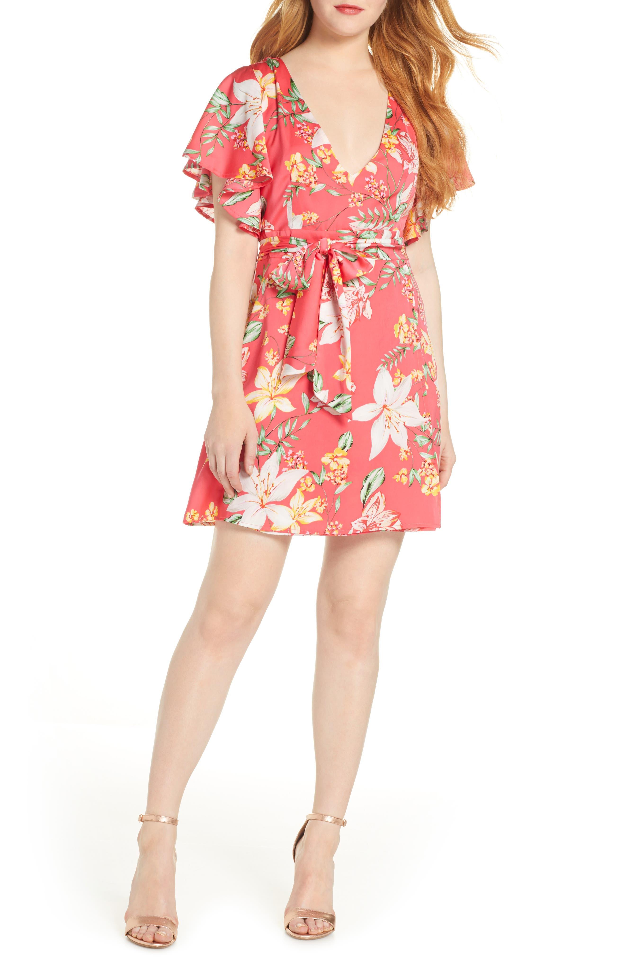 Bb Dakota Tropic Tropical Vine Print Dress, Pink