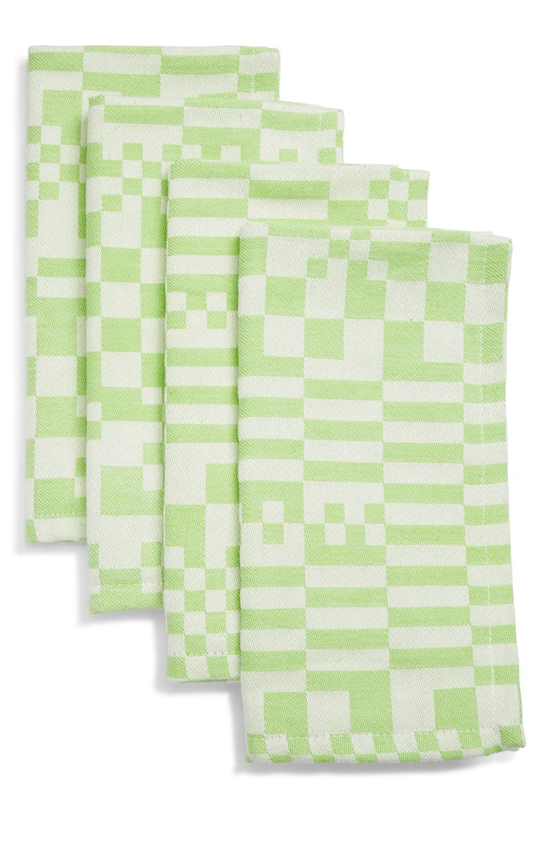 DUSEN DUSEN Set of 4 Cotton Napkins, Main, color, CHECK