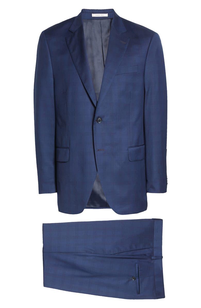 PETER MILLAR Classic Fit Plaid Wool Suit, Main, color, BLUE