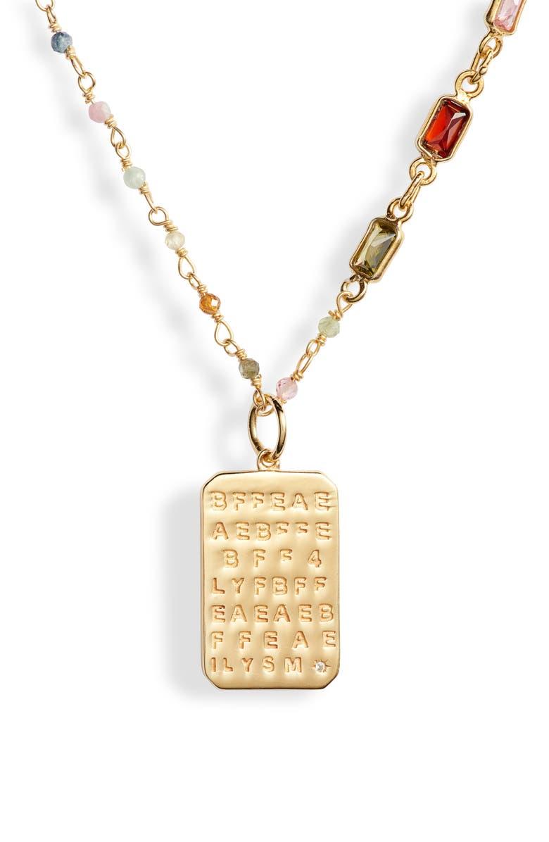 ELA RAE Best Friends Dog Tag Pendant Necklace, Main, color, MULTI/ GOLD