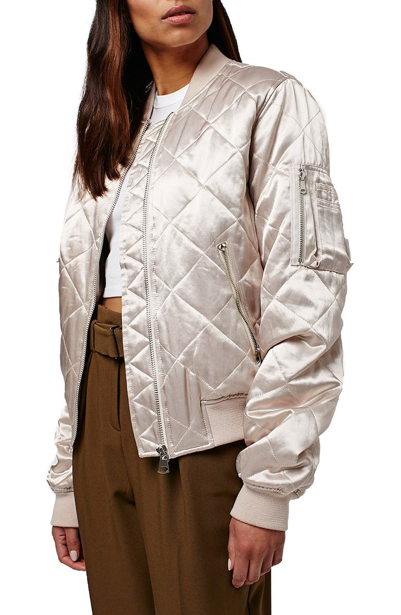 TOPSHOP Shiny Quilted Bomber Jacket, Main, color, 650