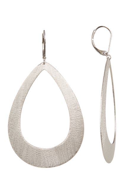 Image of Rivka Friedman White Rhodium Clad Open Teardrop Satin Dangle Earrings