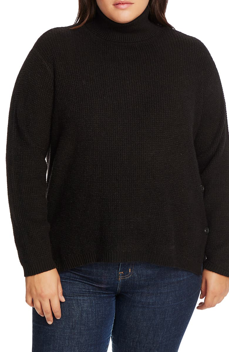 1.STATE Side Button Waffle Stitch Turtleneck Sweater, Main, color, RICH BLACK