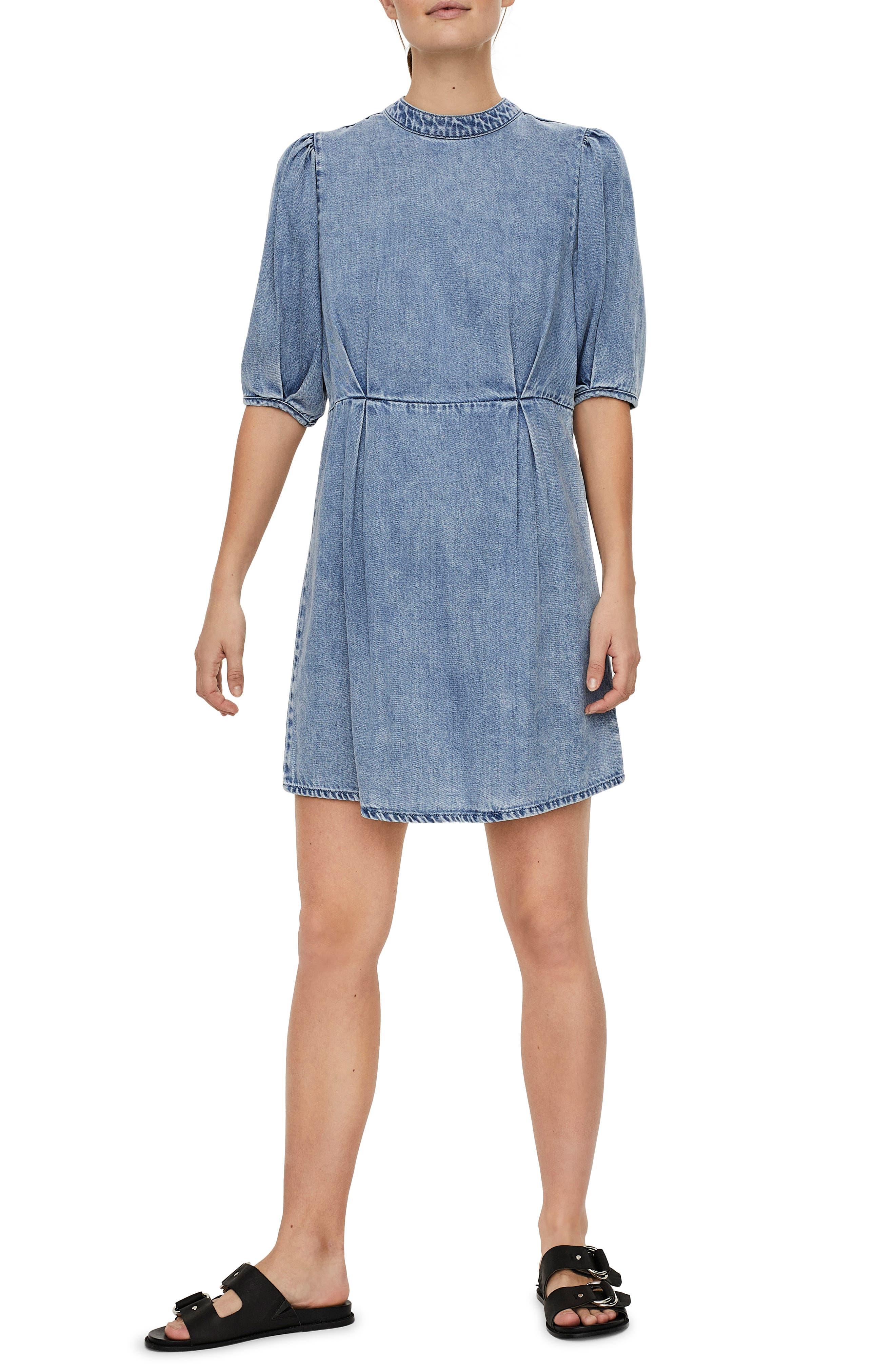 Berta Puff Sleeve Chambray Dress
