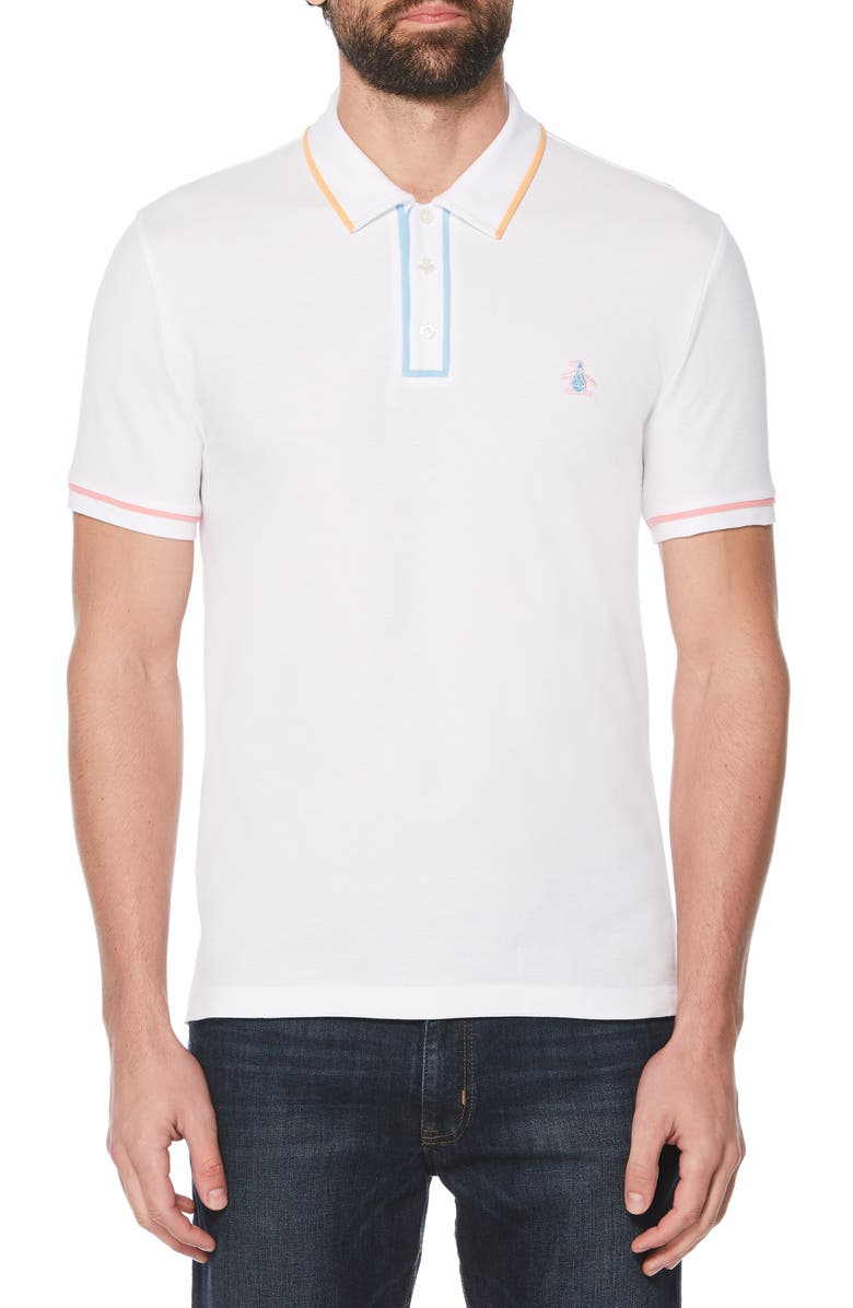 ORIGINAL PENGUIN Festivearl Piqué Polo, Main, color, BRIGHT WHITE