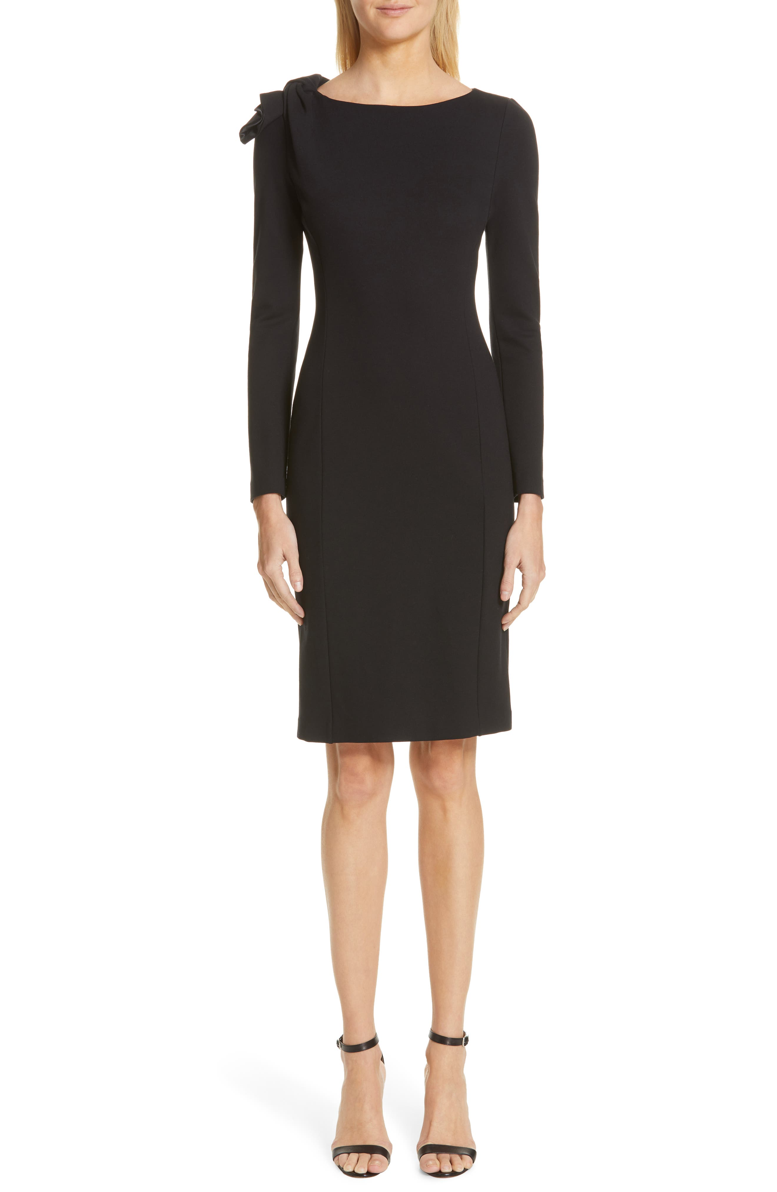 Emporio Armani Long Sleeve Jersey Sheath Dress, US / 40 IT - Black
