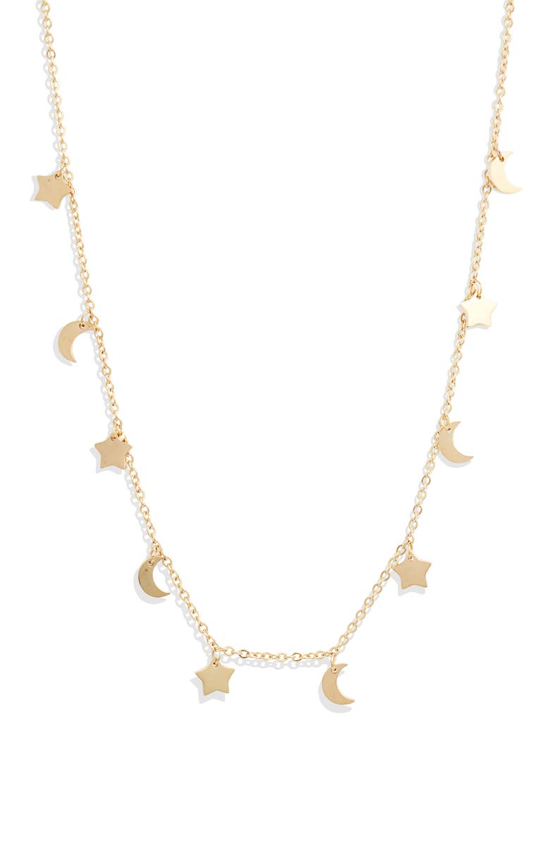 KNOTTY Sun, Moon & Stars Charm Necklace, Main, color, GOLD