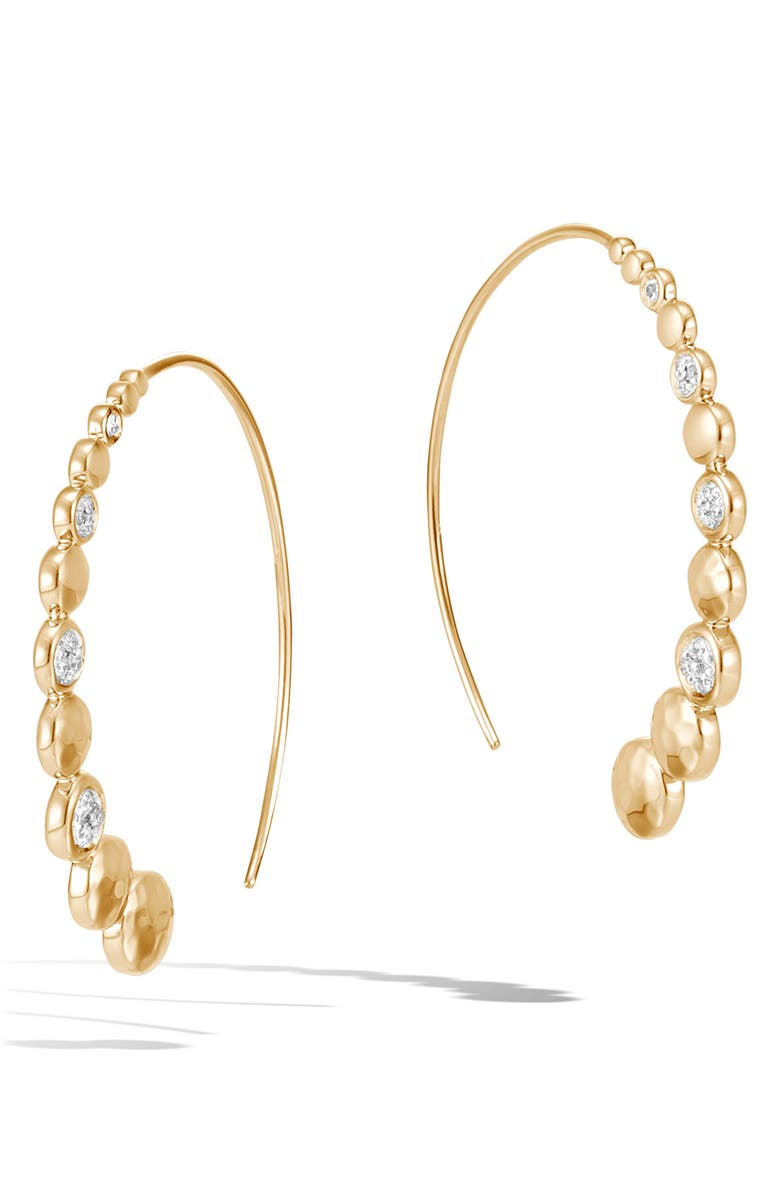 JOHN HARDY Dot Hammered Diamond Pavé Medium Hoop Earrings, Main, color, YELLOW GOLD
