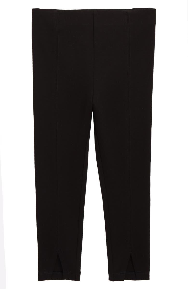 SOMETHING NAVY Ponte Split Leggings, Main, color, BLACK