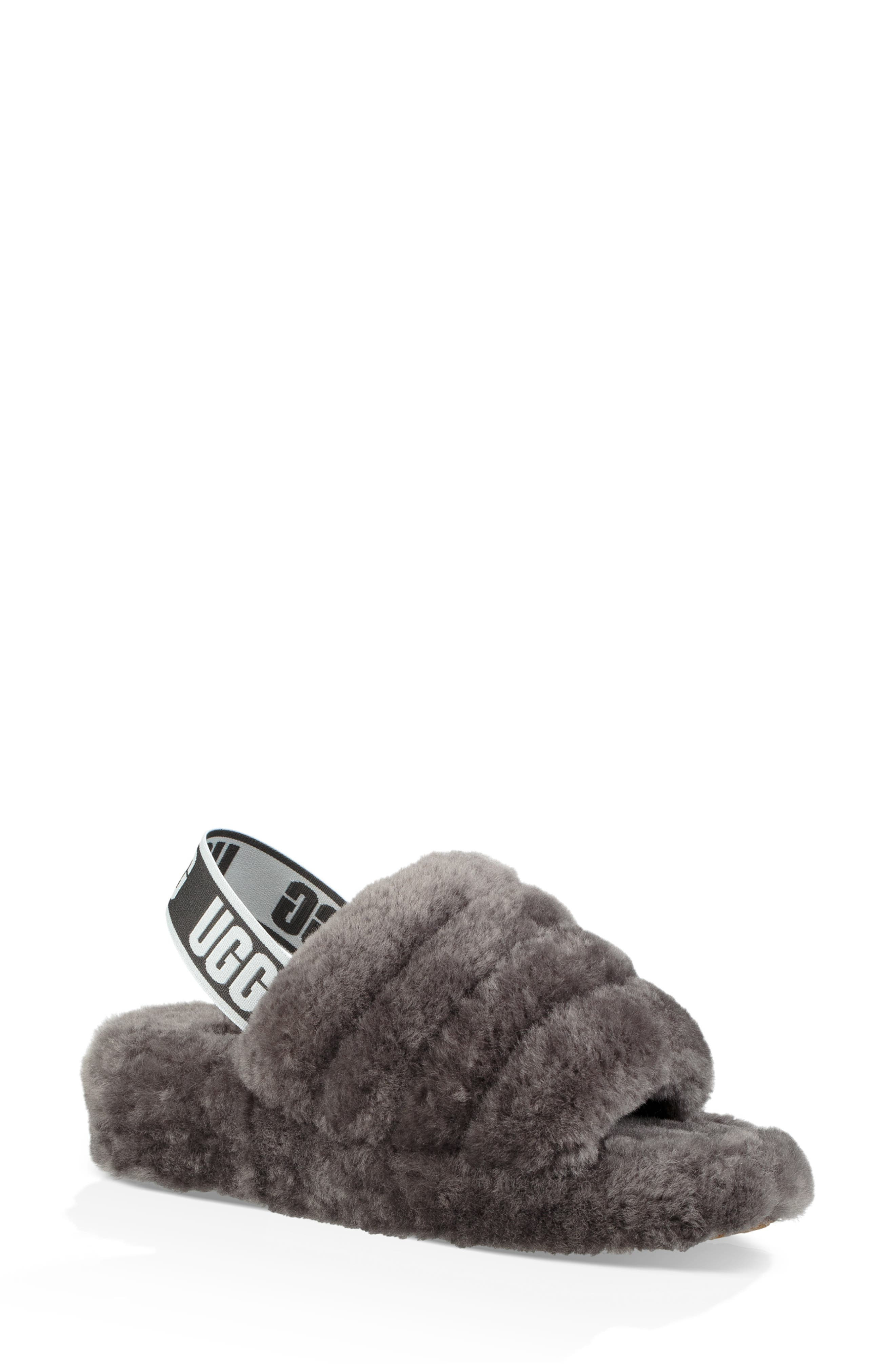 ,                             Fluff Yeah Genuine Shearling Slipper,                             Main thumbnail 1, color,                             CHARCOAL