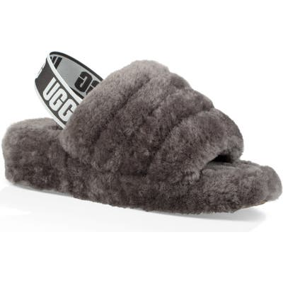 Ugg Fluff Yeah Genuine Shearling Slide, Grey