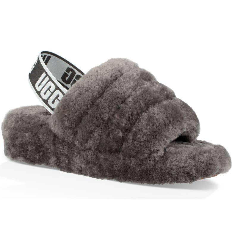 UGG<SUP>®</SUP> Fluff Yeah Genuine Shearling Slide, Main, color, CHARCOAL