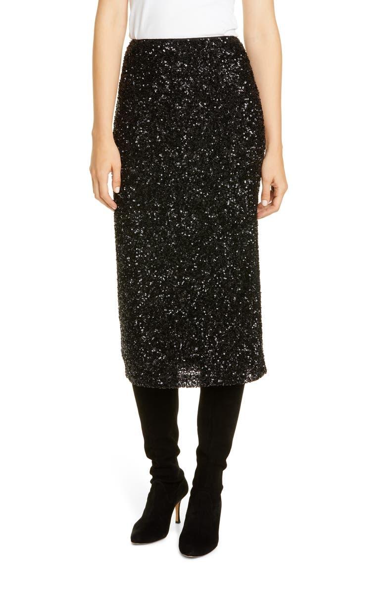 LAFAYETTE 148 NEW YORK Casey Sequin Midi Skirt, Main, color, BLACK