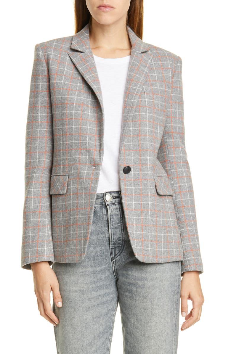 RAG & BONE Rylie Check Blazer, Main, color, GREYCHK