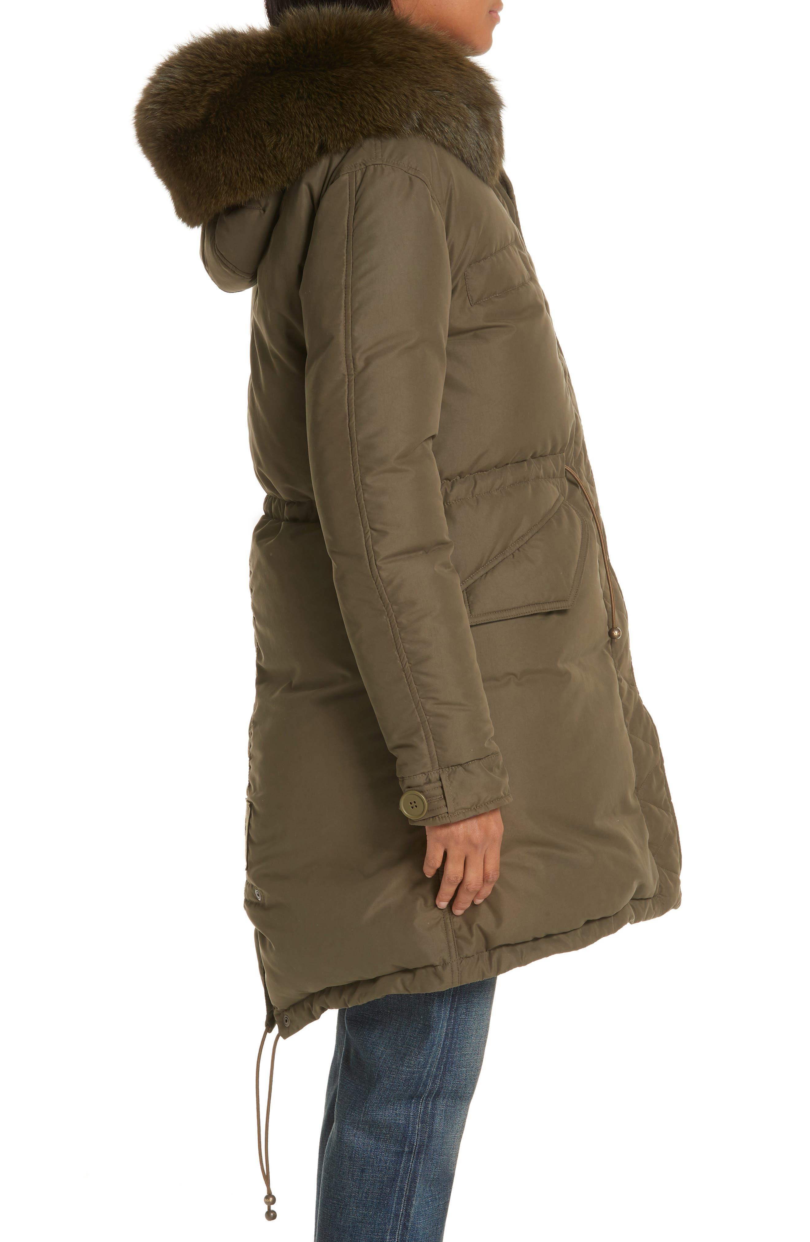 ,                             Genuine Fox Fur Trim Down Puffer Coat,                             Alternate thumbnail 4, color,                             300