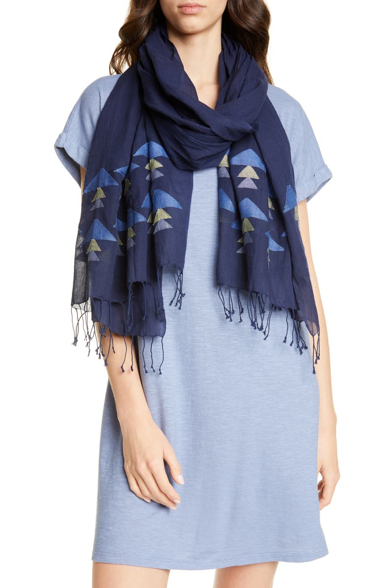 EILEEN FISHER Organic Cotton Scarf, Main, color, MIDNIGHT