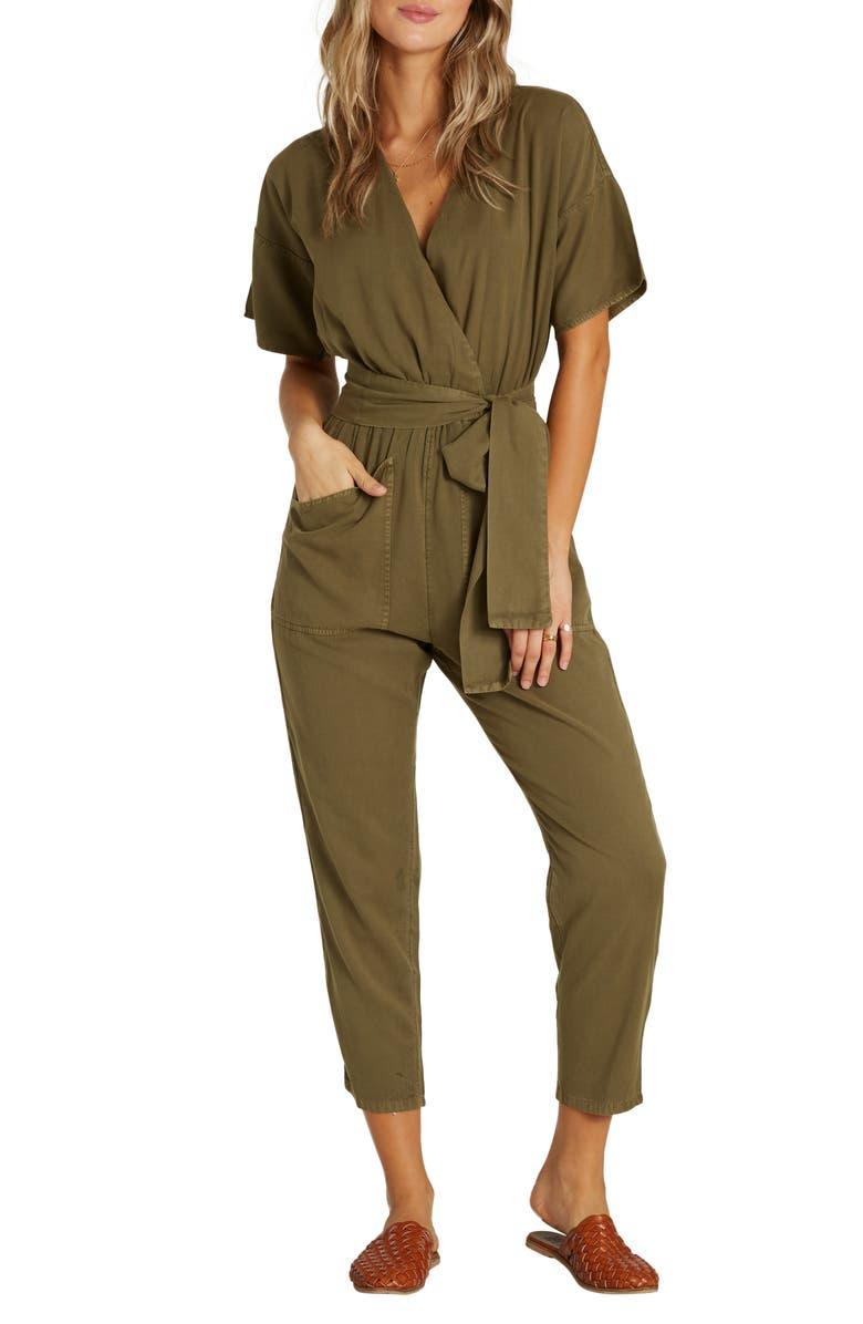 BILLABONG High Flyer Faux Wrap Crop Jumpsuit, Main, color, SAGE