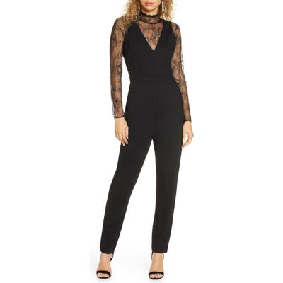 French Connection Tabetha Lula Long Sleeve Lace & Jersey Jumpsuit, Black