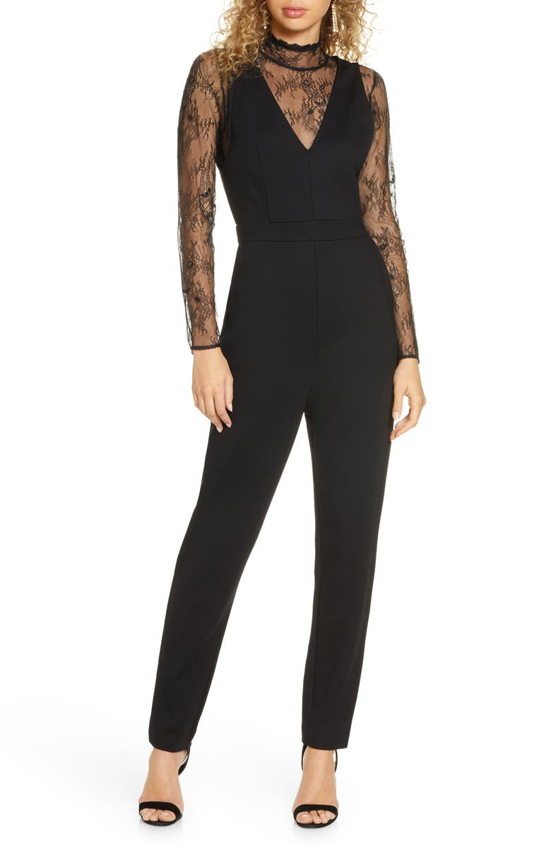 FRENCH CONNECTION Tabetha Lula Long Sleeve Lace & Jersey Jumpsuit, Main, color, 001