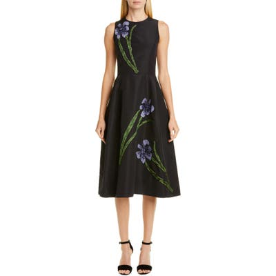 Carolina Herrera Embellished Floral Silk Dress, Black