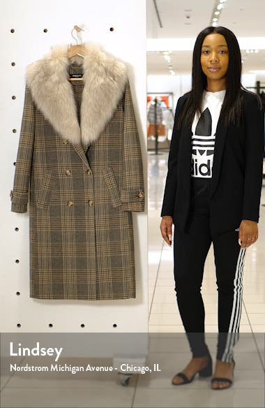 Plaid Wool Blend Coat with Removable Faux Fur Collar, sales video thumbnail