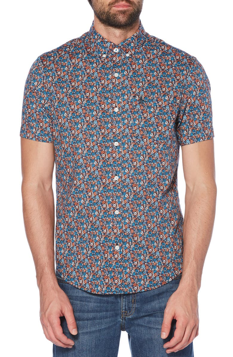 ORIGINAL PENGUIN Ditsy Floral Print Woven Shirt, Main, color, 413