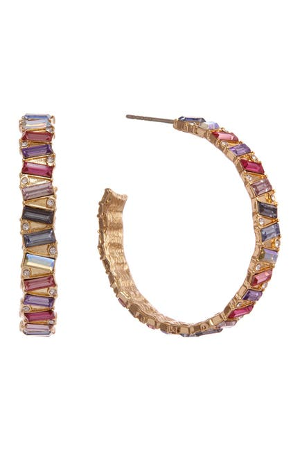 Image of Christian Siriano New York Multi Colored Stone Statement Hoop Earrings