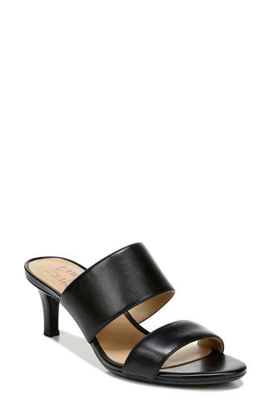 Naturalizer Tibby Slide Sandals Women's Shoes In Black Leather