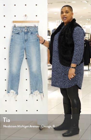 High Waist Destroyed Hem Kick Crop Slim Jeans, sales video thumbnail
