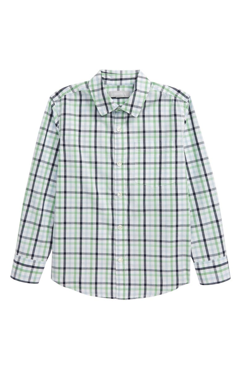 NORDSTROM Poplin Button-Up Shirt, Main, color, GREEN ZEPHYR GINGHAM