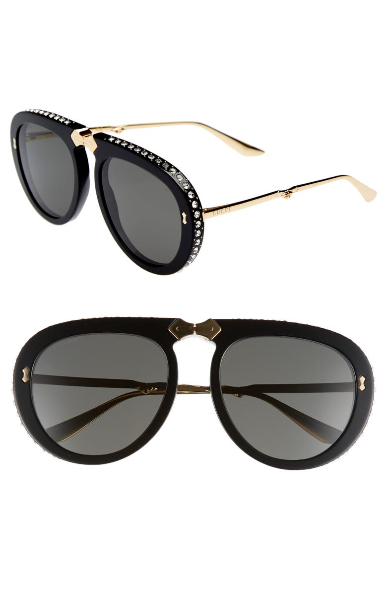 GUCCI 56mm Crystal Studded Aviator Sunglasses, Main, color, 710