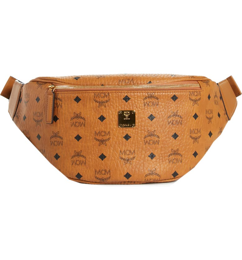 MCM Medium Stark Belt Bag, Main, color, COGNAC CO