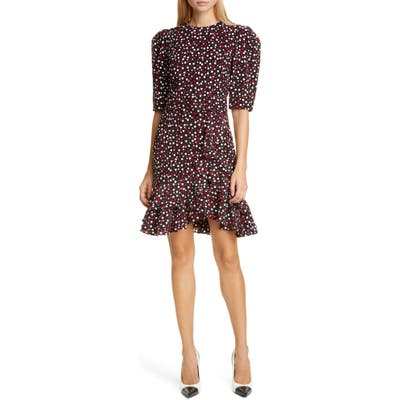 Michael Kors Tiered Belted Scattered Dot Dress, Red
