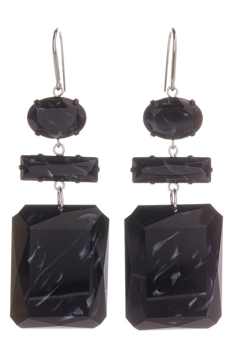 ISABEL MARANT Geometric Resin Drop Earrings, Main, color, BLACK/SILVER