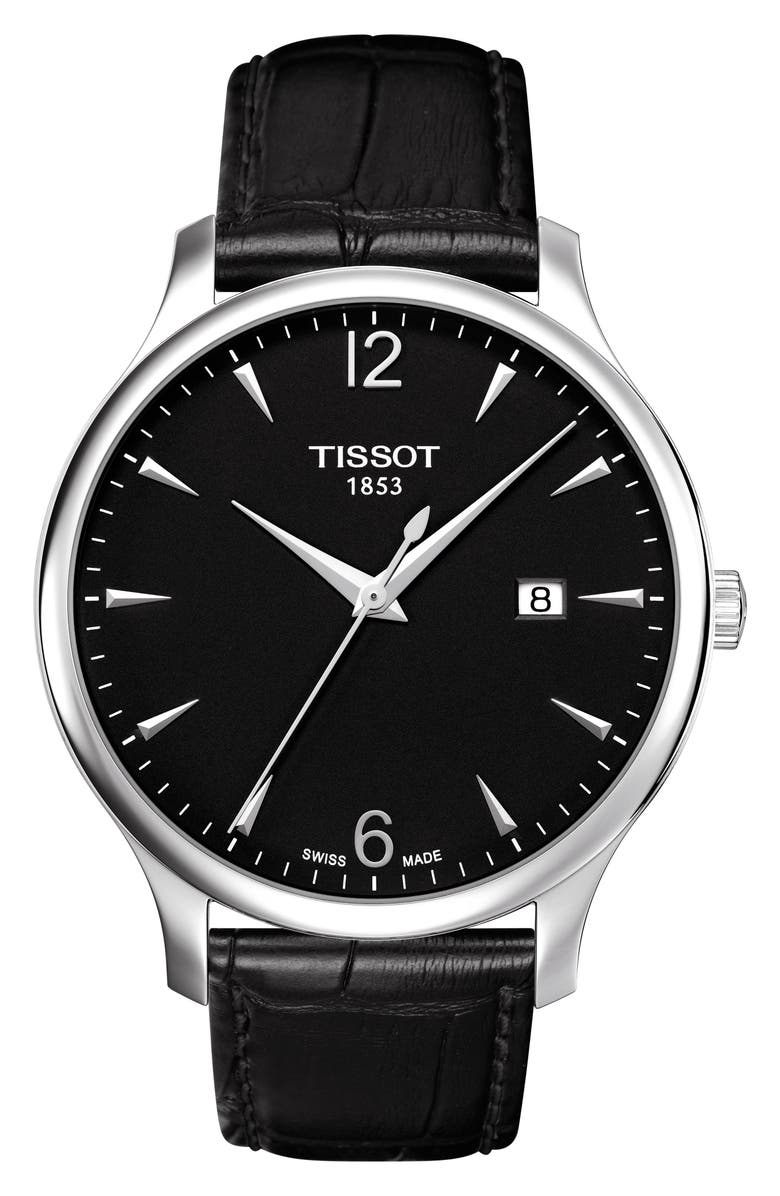 TISSOT Tradition Leather Strap Watch, 42mm, Main, color, BLACK/ SILVER