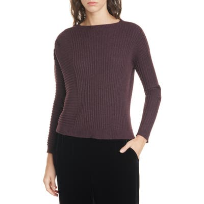Eileen Fisher Bateau Neck Ribbed Cashmere Sweater, Purple