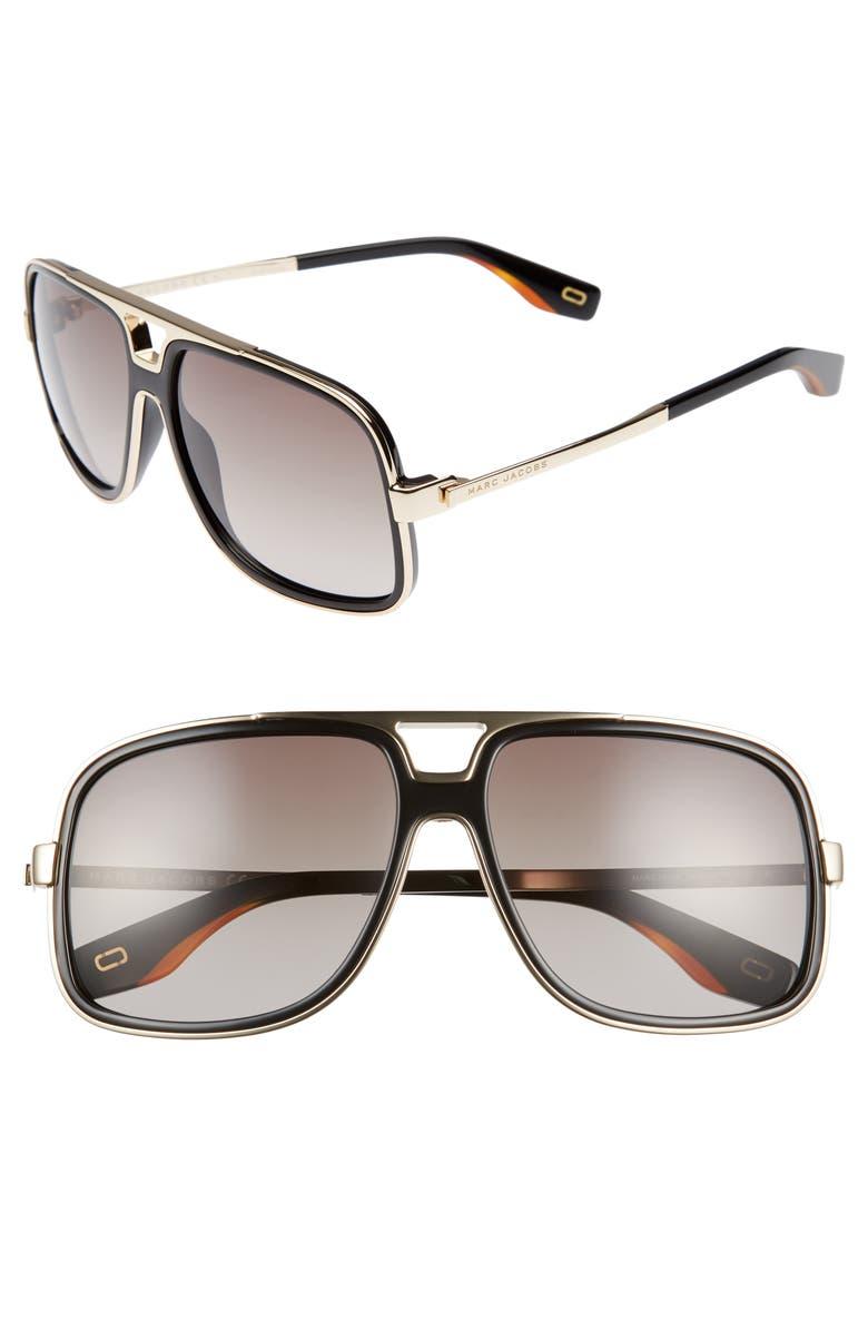 MARC JACOBS 60mm Gradient Lens Aviator Sunglasses, Main, color, BLACK